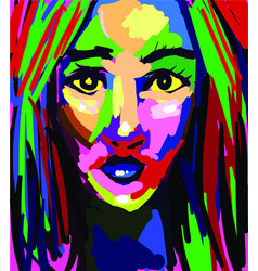 Beautiful woman colorful painting abstract vector