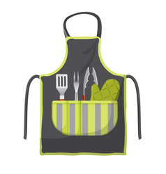 Black apron with various accessories in pocket vector