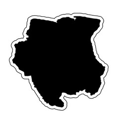 black silhouette of the country suriname with the vector image