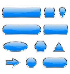 blue 3d icons glass shiny buttons vector image