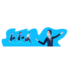 business people following team leader businessman vector image