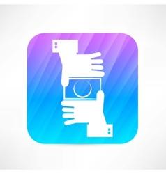 Camera hands icon vector