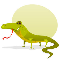 cartoon happy lizard vector image