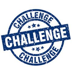 Challenge blue round grunge stamp vector