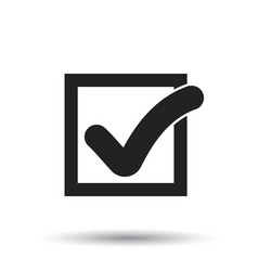 check mark button icon flat approved sign symbol vector image