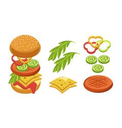 cheeseburger cooking ingredients fast food vector image