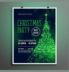 christmas party sparkle tree green flyer template vector image