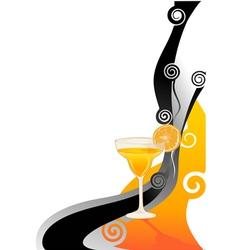 Cocktail orange card vector