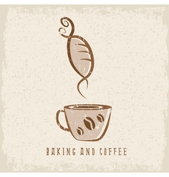 coffee and bakery negative space concept grunge vector image