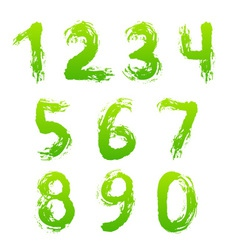 Collection of painted numbers vector image vector image