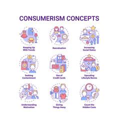 Consumerism concept icons set vector