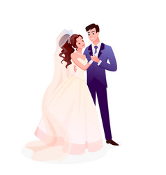 couple wedding just married characters standing vector image