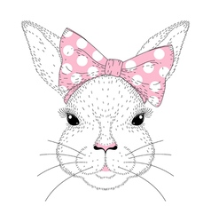 Cute bunny portrait Hand drawn rabbit girl face vector