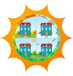 Cute template for seasons calendar vector