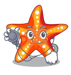 Doctor starfish beside in character beach vector