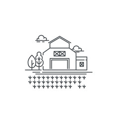 farm barn line icon with germinating field outline vector image