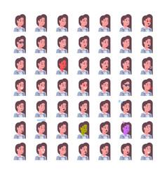 female smiling emotion icons set isolated avatar vector image