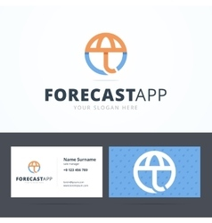 Forecast application logo and business card vector
