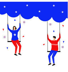 fourth july flat character with swing on the vector image