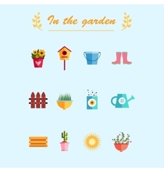 Garden flat icons blue background vector