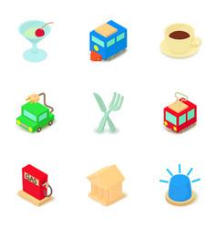gasoline icons set isometric style vector image