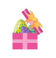 Gift box with easter eggs vector
