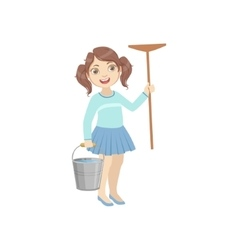 Girl Holding The Mop And Water Bucket vector image