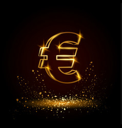 gold euro money symbol vector image