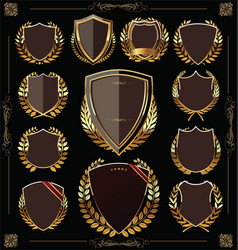 golden shields and laurel wreaths collection vector image