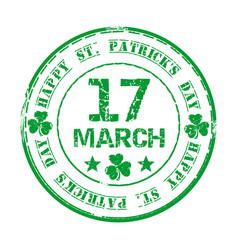 Green grunge rubber stamp for st patricks day vector