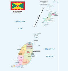 Grenada administrative map with flag vector