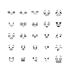 hand drawn funny smiley faces happy kawaii style vector image