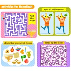 Hanukkah activities vector