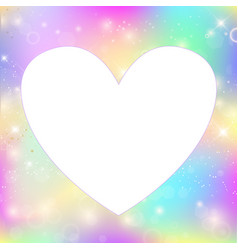 Heart frame magic background with rainbow mesh vector