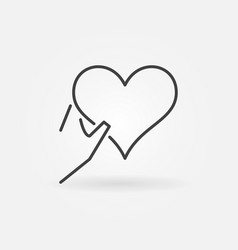 heart in hand outline icon charity symbol vector image