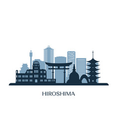 hiroshima skyline monochrome silhouette vector image