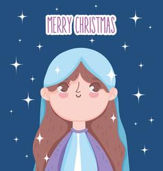 Holy mary manger nativity merry christmas vector