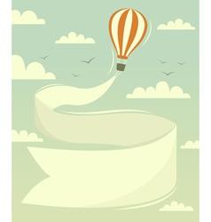 Hot air balloon with banner vector