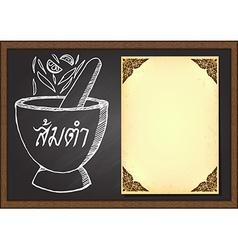 Isan food or Thaifood menu on chalkboard vector image