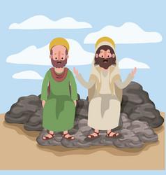 Jesus the nazarene and bartholomew in scene in vector