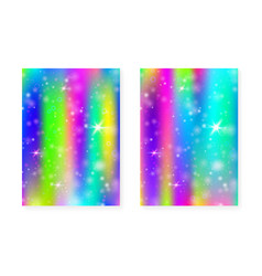 Kawaii background with rainbow princess gradient vector
