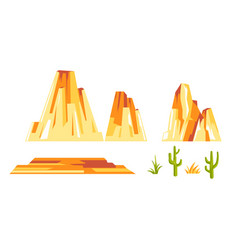 Landscape constructor set with yellow rock vector