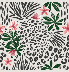 leopard animal skin and botanical background vector image