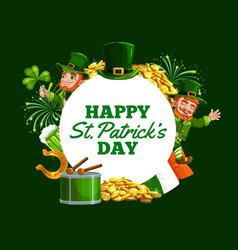 leprechaun green shamrock gold patricks day vector image