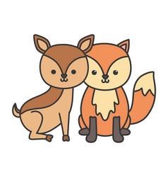 little cute deer and fox cartoon animals vector image