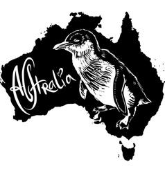 Little penguin Eudyptula minor on map of Australia vector