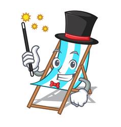 Magician beach chair mascot cartoon vector