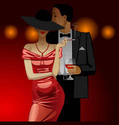 Man and woman in evening dress dark on dark red vector