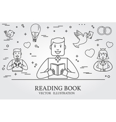 Man Reading A Book And Imagining The Love Story Th vector