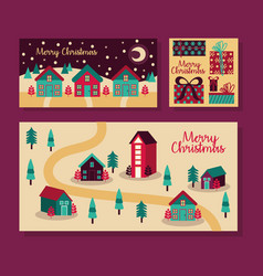 Merry christmas bundle cards icons vector